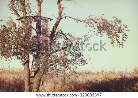 An old treehouse.  Instagram effect - stock photo