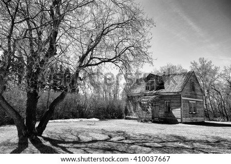 An old two storey abandoned house weathered to gray wood surrounded by bare trees in a black and white spring countryside landscape - stock photo
