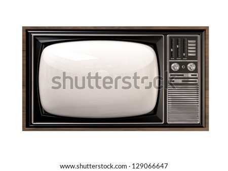 An old vintage tube television with wood trim and chrome dials on an isolated background - stock photo