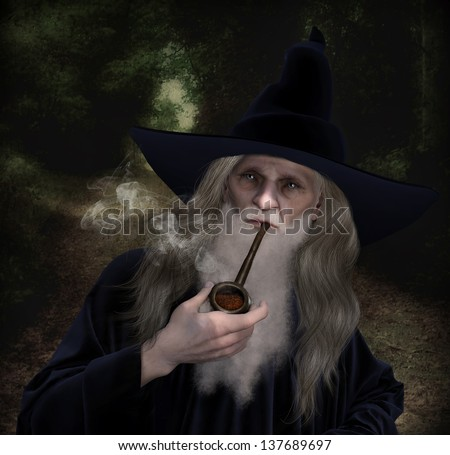 An old Wizard character dressed in a velvet blue Wizard Robe and hat smoking an old pipe. - stock photo