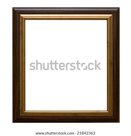 An old wooden frame isolated on white - stock photo