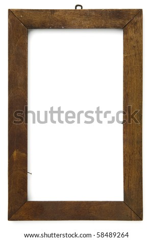 an old wooden frame on white with clipping path - stock photo