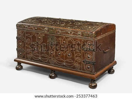 An old wooden leather studded Chest or Trunk antique original - stock photo