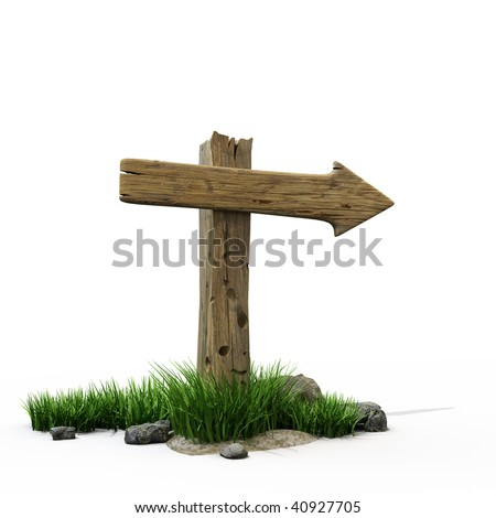 An old wooden road sign - stock photo