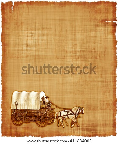 An old worn parchment featuring an Old West covered wagon. - stock photo