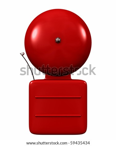 An older style alarm bell bright red isolated on white - stock photo