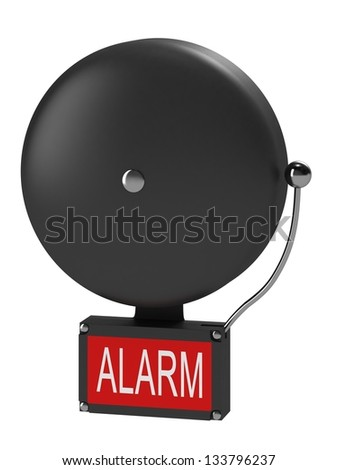 An older style alarm bell with the inscription alarm - stock photo