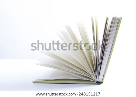 An open book isolated on white background. Ideas for business and self-development  - stock photo
