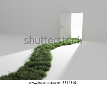An open door, a way to freedom - stock photo