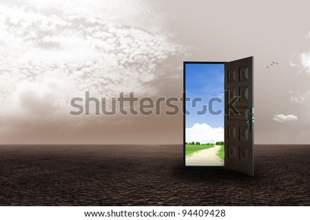 An open door revealing a different dimension. illustration - stock photo