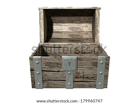 An open empty old classic wood and iron treasure chest with a metal lock on an isolated background - stock photo