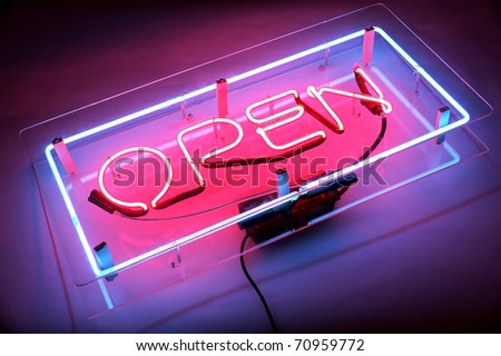 an open neon sign - stock photo