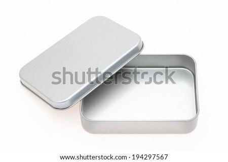 An open rectangular shaped metal container is empty. - stock photo