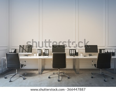 An open space office, tables with computers arranged along the wall, workers facing each other. Concept of work. 3D rendering - stock photo
