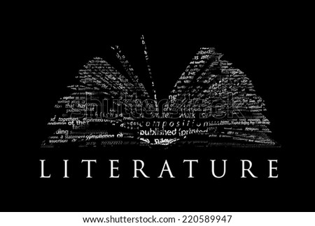 "An opened book made of white words on a black background with the word ""LITERATURE"" under it - Word cloud - stock photo"