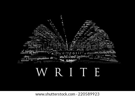 "An opened book made of white words on a black background with the word ""WRITE"" under it - Word cloud - stock photo"
