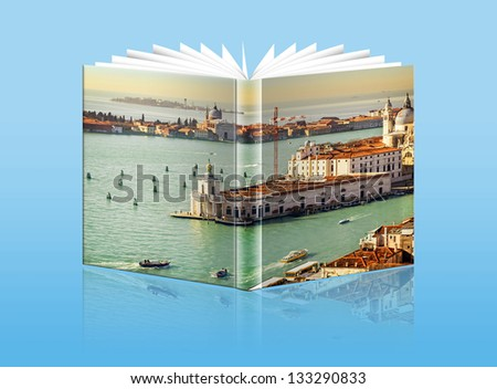 An opened  book with a picture Gulf of Venice, - Grand Canal , Italy - stock photo