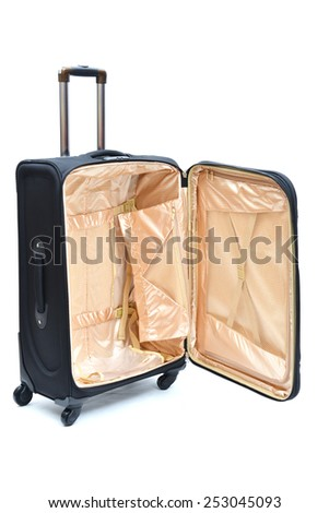 An opened luggage showing the functions inside - stock photo
