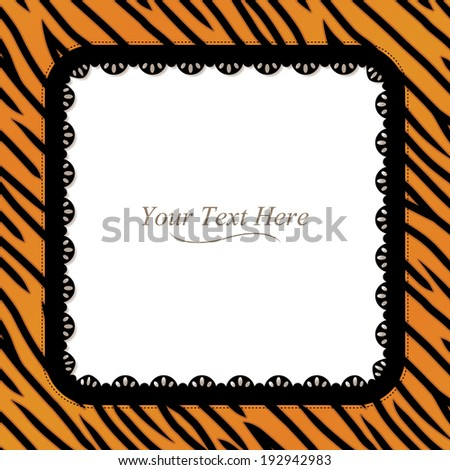 An orange and black tiger striped frame with a black lace trim. Raster. - stock photo