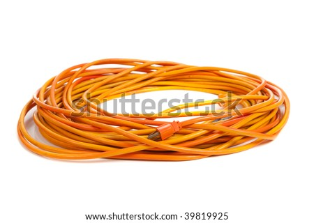 An orange extension cord on a white background - stock photo