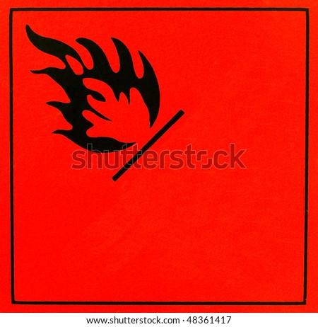 An orange flammable warning sign - stock photo