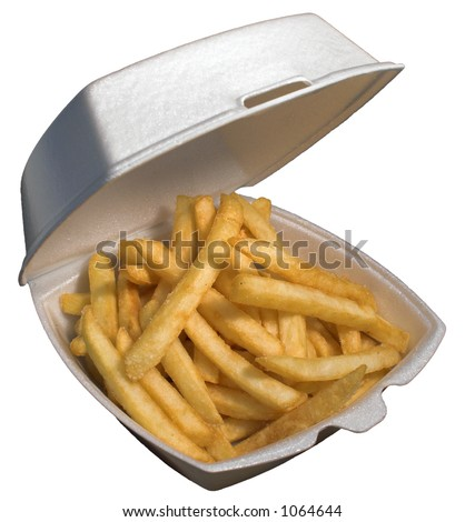 An order of fries to go - stock photo