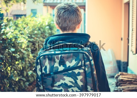 an ordinary day - go to school - vintage style photo - stock photo