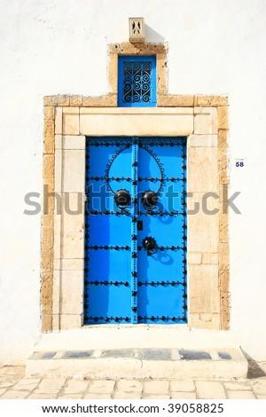 An oriental entrance found in Sidi Bou Said, Tunis - stock photo