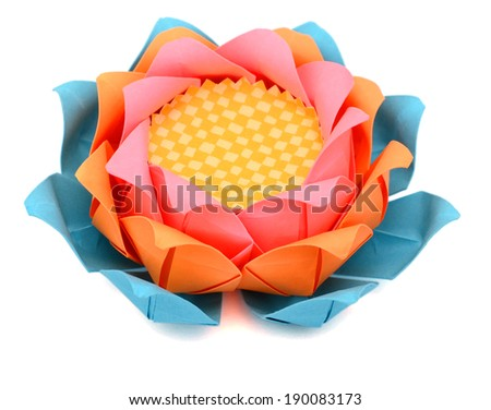 An Origami lotus paper - stock photo