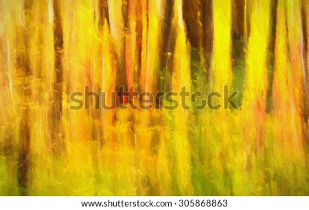 An original abstract photograph of the colorful autumn woods of Pennsylvania transformed into a vibrant digital painting - stock photo