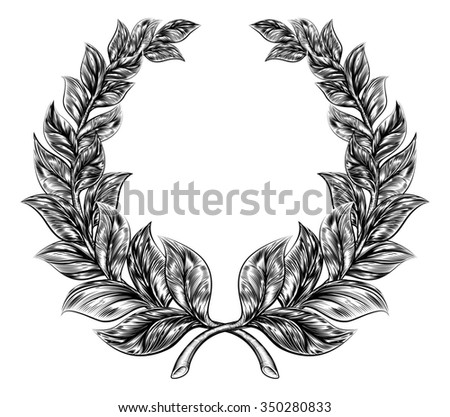 An original illustration of a laurel wreath in a vintage woodblock or woodcut style - stock photo