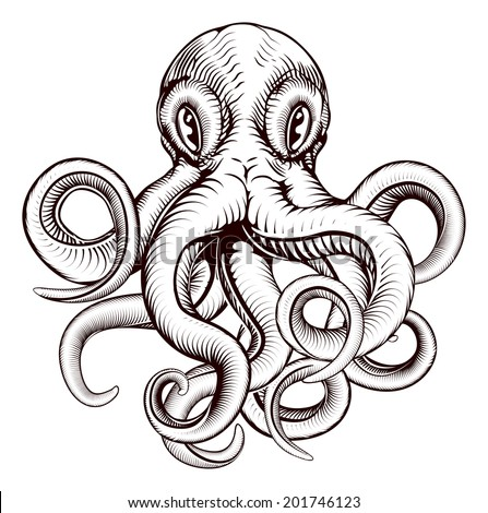 An original illustration of an octopus in a dynamic woodblock style - stock photo