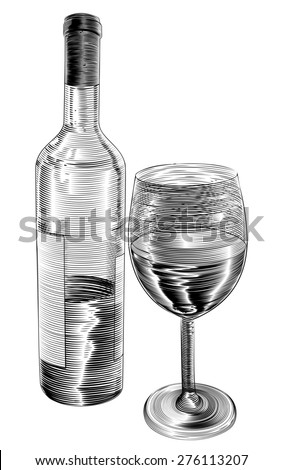 An original illustration of red wine bottle and glass of wine in a vintage woodcut woodblock style - stock photo