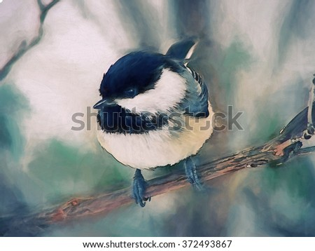 An original photograph of a black capped chickadee transformed into a toned painting - stock photo