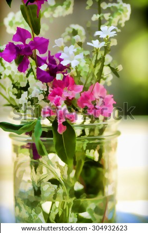 An original photograph of a bouquet of colorful wildflowers in a mason jar transformed into a digital illustration - stock photo