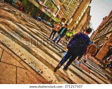 An original photograph of a busy New York City street intersection transformed into a colorful painting  - stock photo