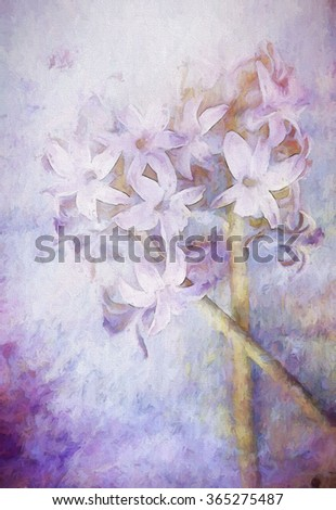 An original photograph of a purple hyacinth flower transformed into a colorful toned painting - stock photo