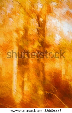An original photograph of colorful autumn trees turned into an abstract painting - stock photo