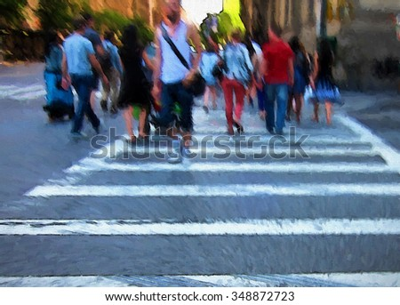 An original photograph of people crossing a busy New York City street intersection at transformed into a colorful abstract painting  - stock photo