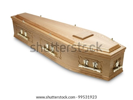 an ornate mahogany coffin casket with brass handles and name plaque - stock photo
