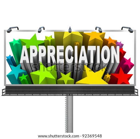 An outdoor billboard communications appreciation and recognition for an outstanding achievement and a job well done - stock photo