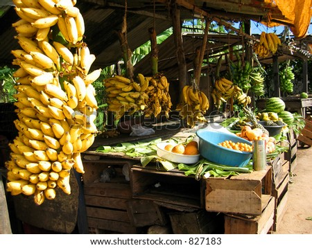 An outdoor fruit market in Brazil. - stock photo