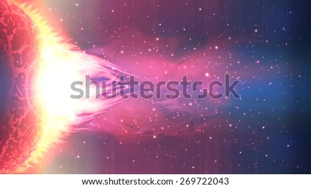 An outer space background with a burning planet and stars.  - stock photo