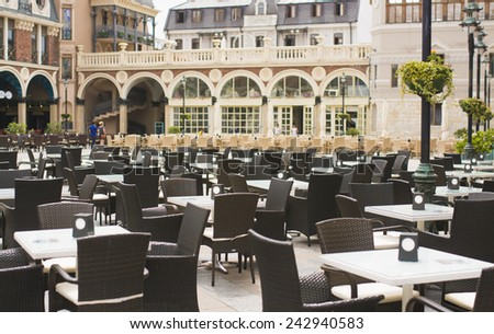 An outside cafe in Batumi - stock photo