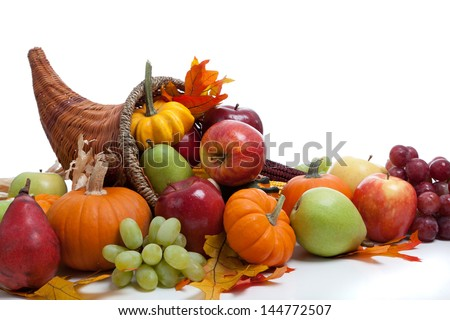 An overflowing cornucopia including pumpkins, grapes, gourds and leaves on a white background - stock photo