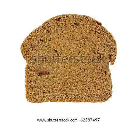 An overhead view of a slice of home made pumpernickel bread. - stock photo