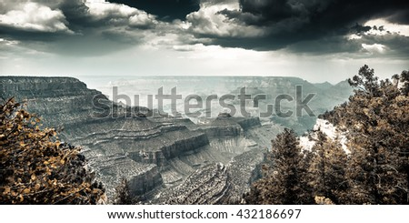 An overview of the Grand Canyon in Arizona - stock photo