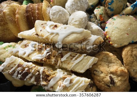 An pretty assortment of delicious holiday cookies. - stock photo