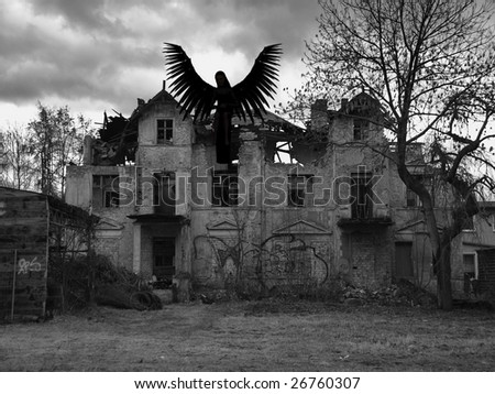 An rendered angel silhouette with unfolded wings sitting on an old house. Was destroyed by a storm and is now demolished. Digitally created image with photo as a background. - stock photo