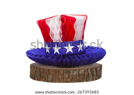 An Uncle Sam hat against a white background - stock photo
